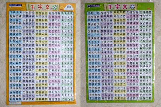 千字文表は韓国の漢字語を覚えるのに最適!